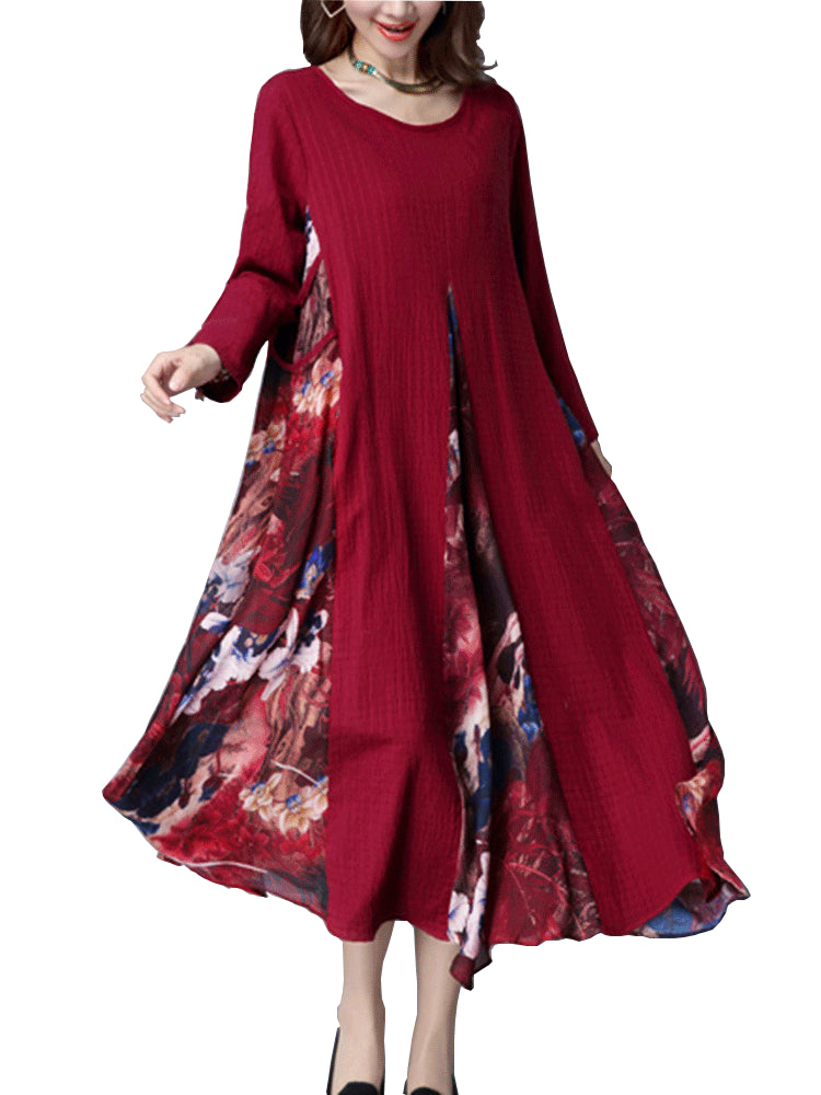 O-NEWE M-5XL Vintage Long Sleeve Printing Patchwork Maxi Dress