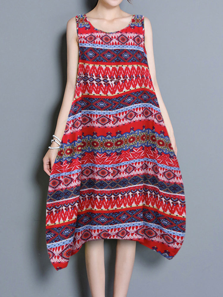 O-NEWE Vintage Women Geometric Patterns Printed Loose Sleeveless Dresses