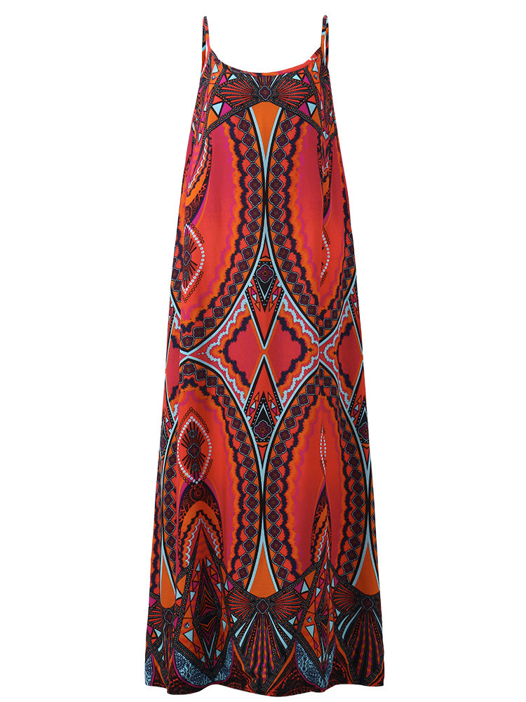O-NEWE Women Sexy Printed Vest Maxi Dresses