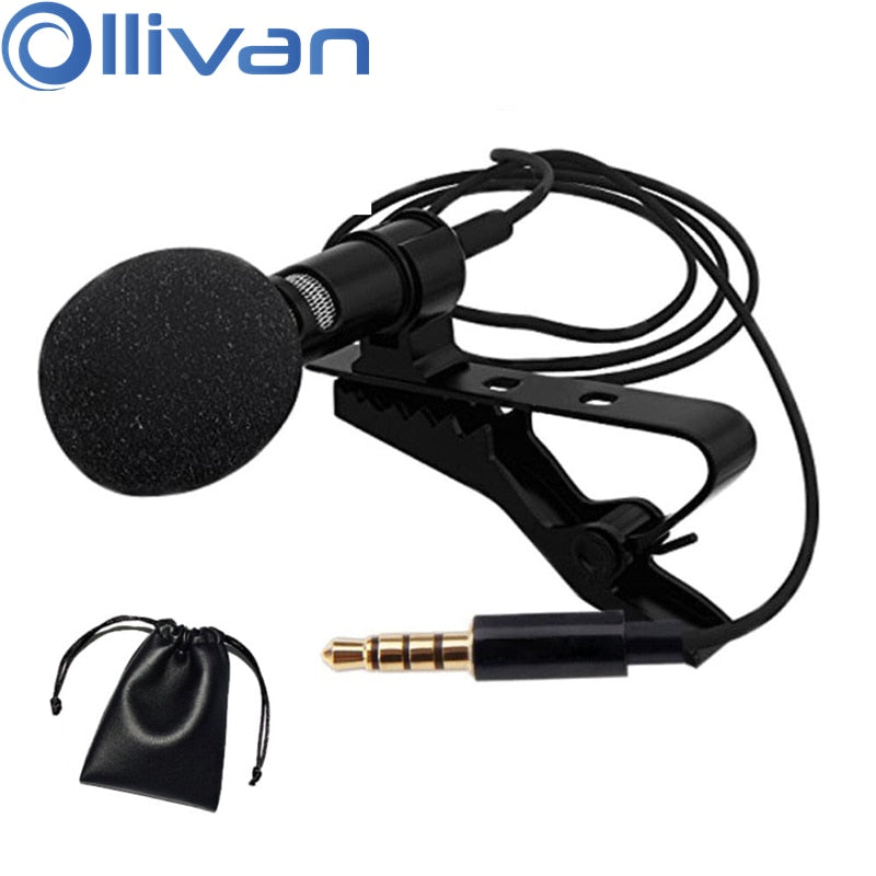 OLLIVAN Pro Audio Microphones 3.5mm Jack Plug Clip-on Lavalier Mic Stereo Mini Wired External Microphone for Mobile Phone 1.5M