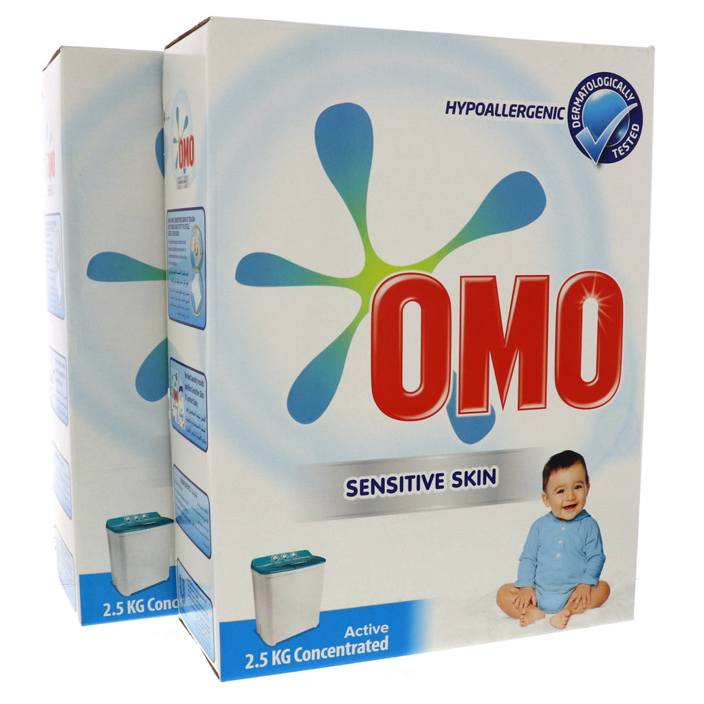 OMO Active Laundry Detergent Powder Sensitive Skin 2 x 2.5kg