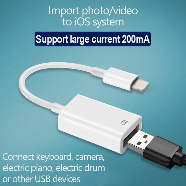 OTG USB to camera adapter for lightning USB cable earphones converter Electric piano MIDI Keyboard for iphone 7 8 ios 13 adapter