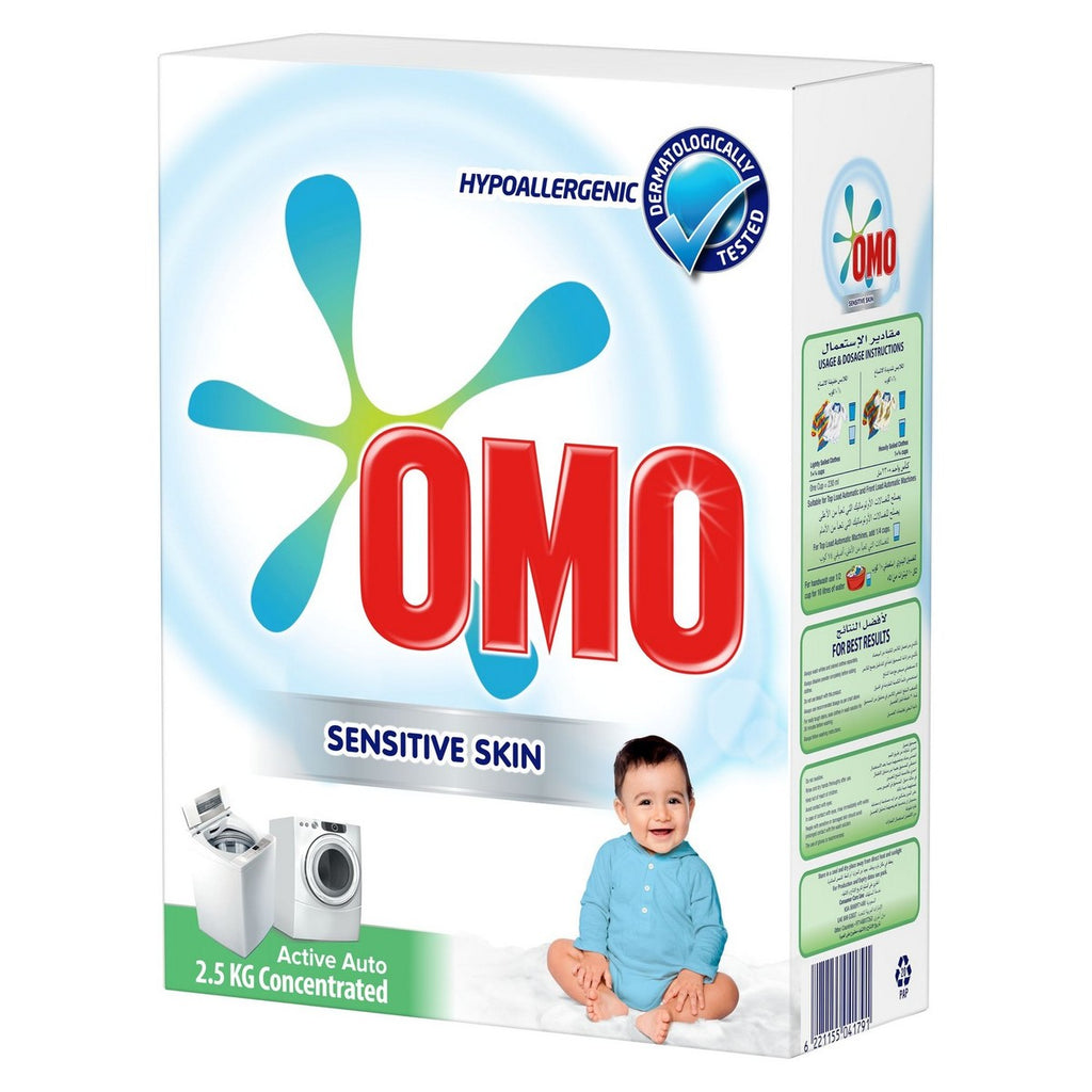 Omo Sensitive Skin Active Auto Concentrated 2.5kg