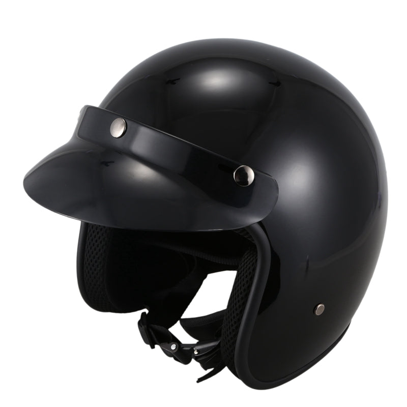 Open Face Motorcycle Helmet Vintage Motorcycle Mirror for Pilot Jet Moto 3/4 Half Bright Black