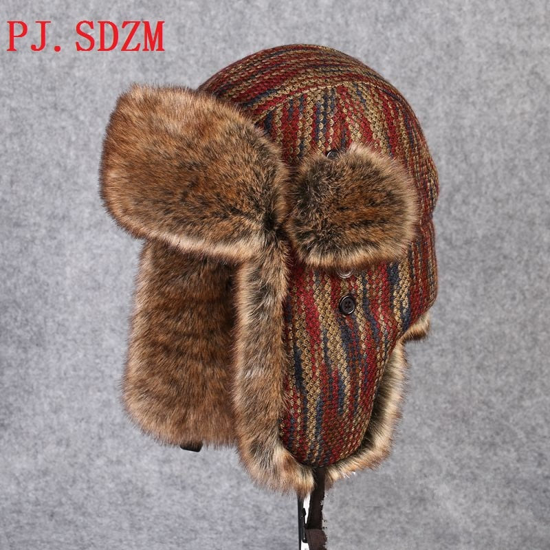 PJ.SDZM 2017 New Winter Casual Hats High Quality Men Women Windproof Warm Bomber Hats Motorcycle Flight Ear Protect LF0003