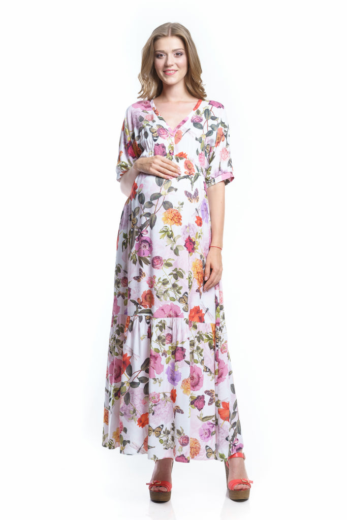 Maxi Dress Flowers For Pregnancy And Nursing