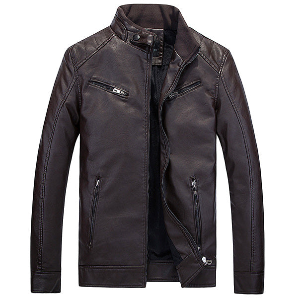 PU Leather Motor Biker Slim Fit Velvet Plus Thick Warm Fashion Locomotive Men Outwear Jacket