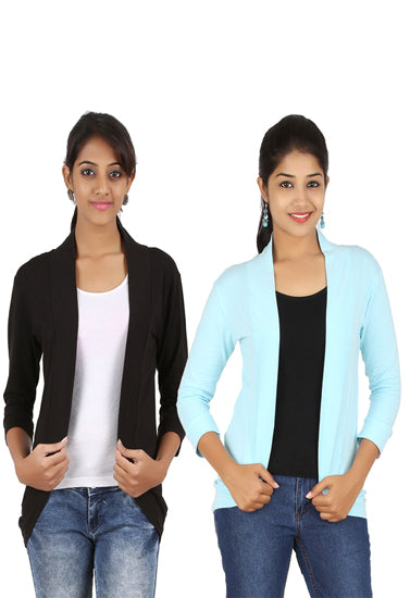 Pack Of 2- Black And Aqua Blue 3/4 Sleeves Shrug