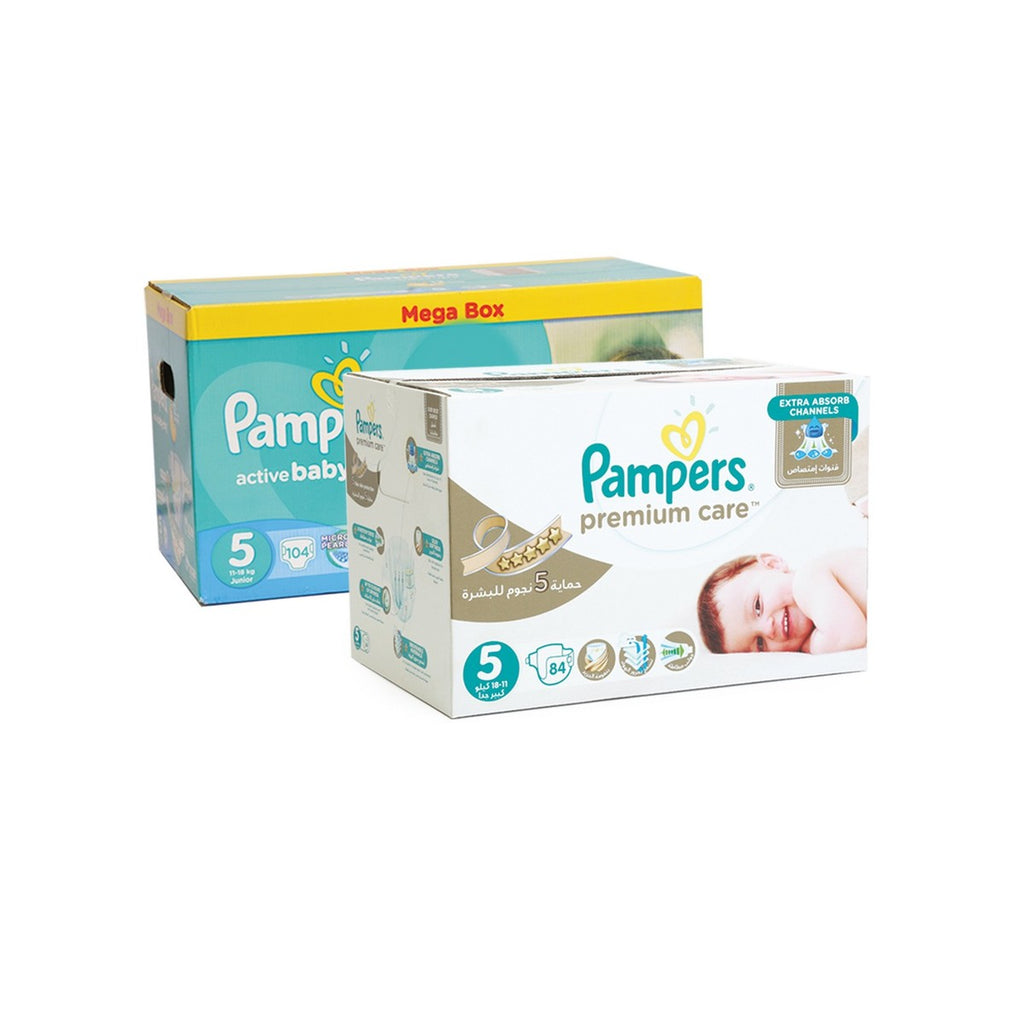 Pampers Premium Care Diapers Size 5, 18-11 Kg, 84pcs