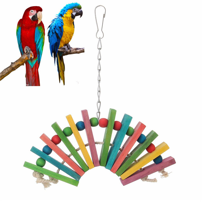 Parrot Colored Woodeen Bite Toys Cage Pendant Gadget Gift