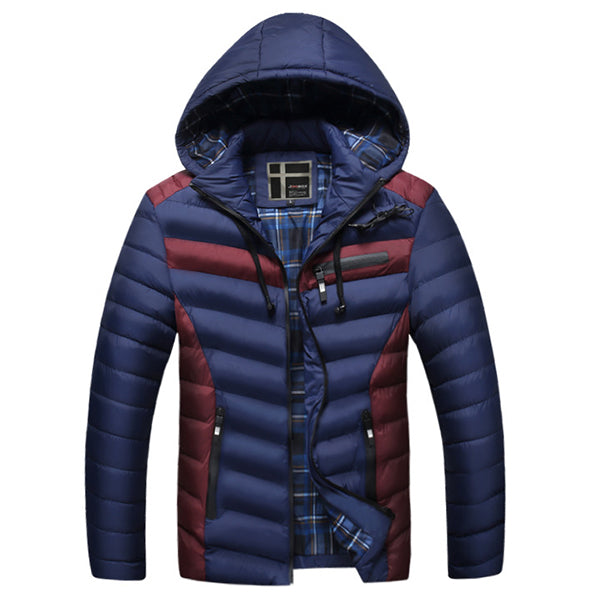 Patchwork Hooded Warm Quilted Padded Puffer Jacket for Men