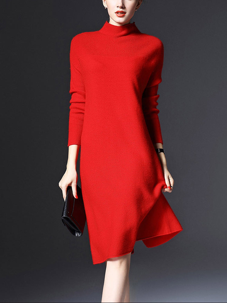 Plus Size Elegant Slim Knitted Sweater Dress