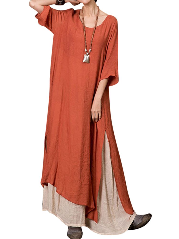 Plus Size Vintage Women Cotton Loose Splicing Long Dress