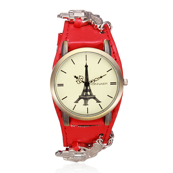Punk Eiffel Tower Gun Leather Chain Women Quartz Watch