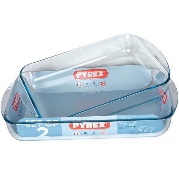 Pyrex Rectangular Roaster 2pcs Set