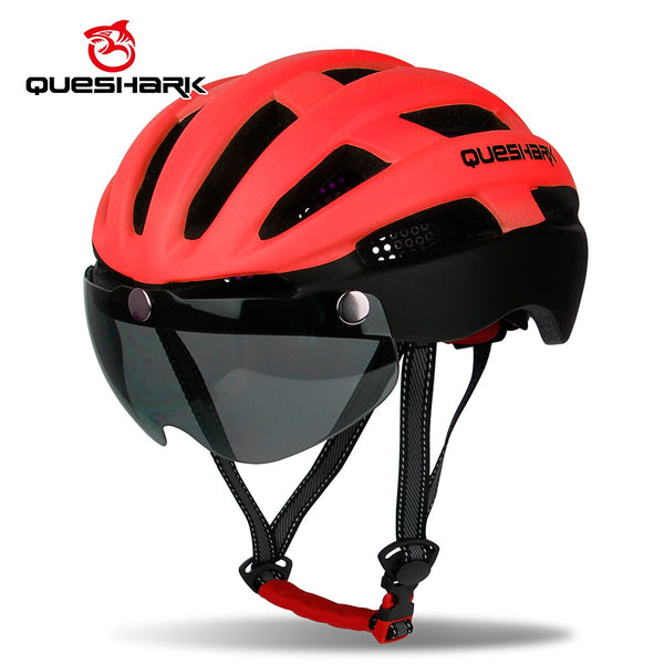 QUESHARK Matte Blue Cycling Helmet Breathable Mountain Road Bike Helmet MTB Bicycle Helmet with Windproof Glasses Black lens