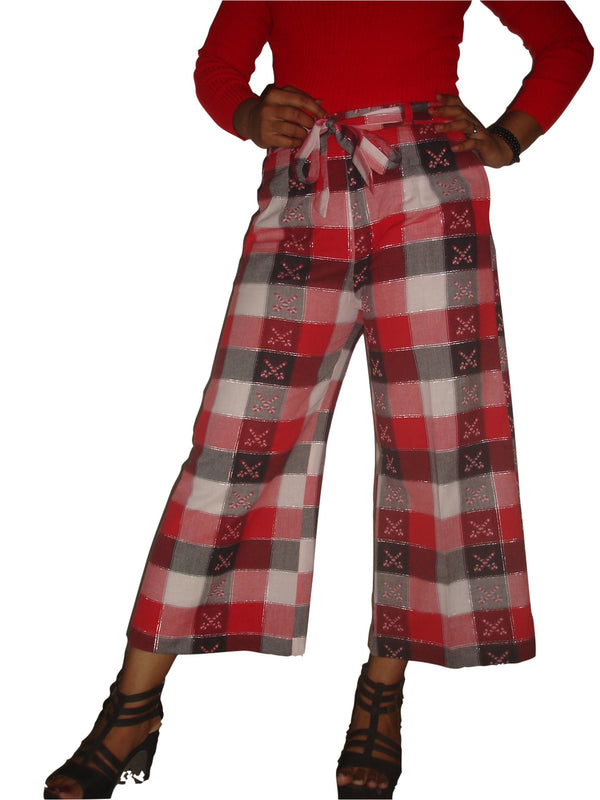 Shreemum Designer Red check Culottes