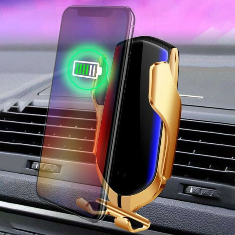 Qi wireless 10W Wireless Chargers Smart R2 Infrared Sensor Car Phone Holder Clamping Air Vent Vent Charging Fast