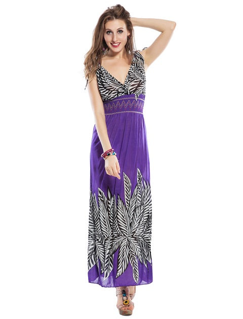 Free Size Purple Long Dress For Women
