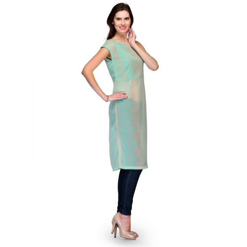 Raas Prêt Casual Sheer Printed Pastel Green Tunic Top
