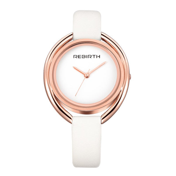 REBIRTH RE028 Simple Design Female Wristwatch Leather Band Quartz Movement Watch
