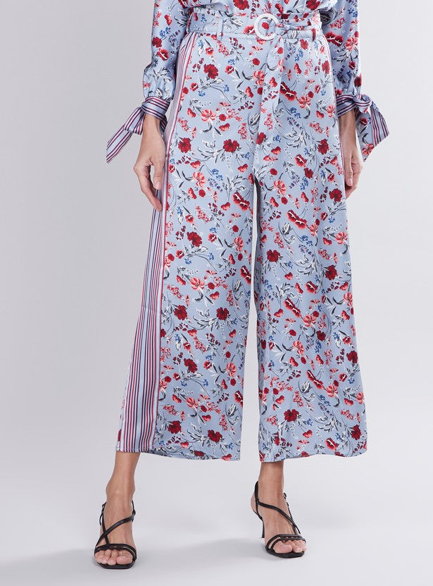 Floral Printed Mid Waist Palazzo Pants with D-Ring Belt