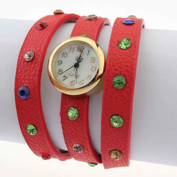Red Leather Crystal Rhinestone Wrap Women Bracelet Quartz Watch