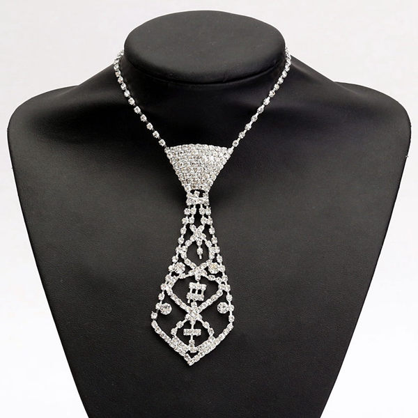 Rhinestone Crystal Neck Tie Pendant Necklace For Prom Ball Party