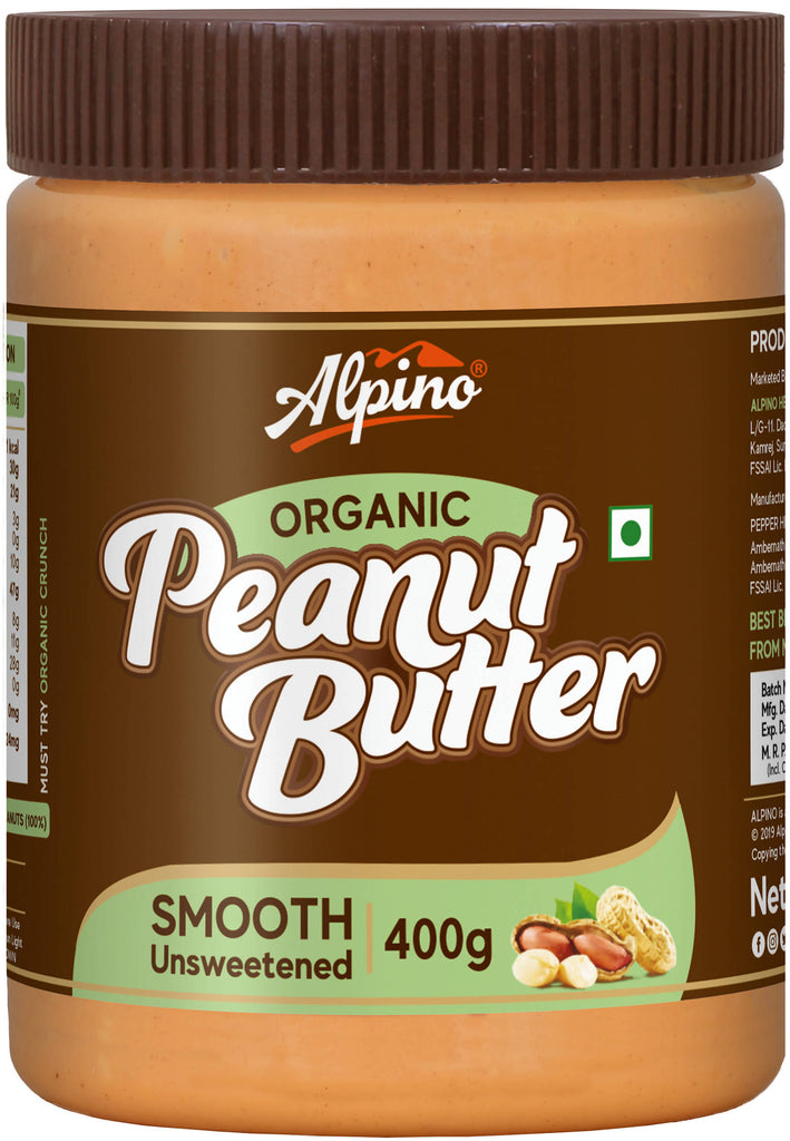Alpino Organic Natural Peanut Butter Smooth 00 G (Unsweetened / Gluten Free / Non-GMO / Vegan)