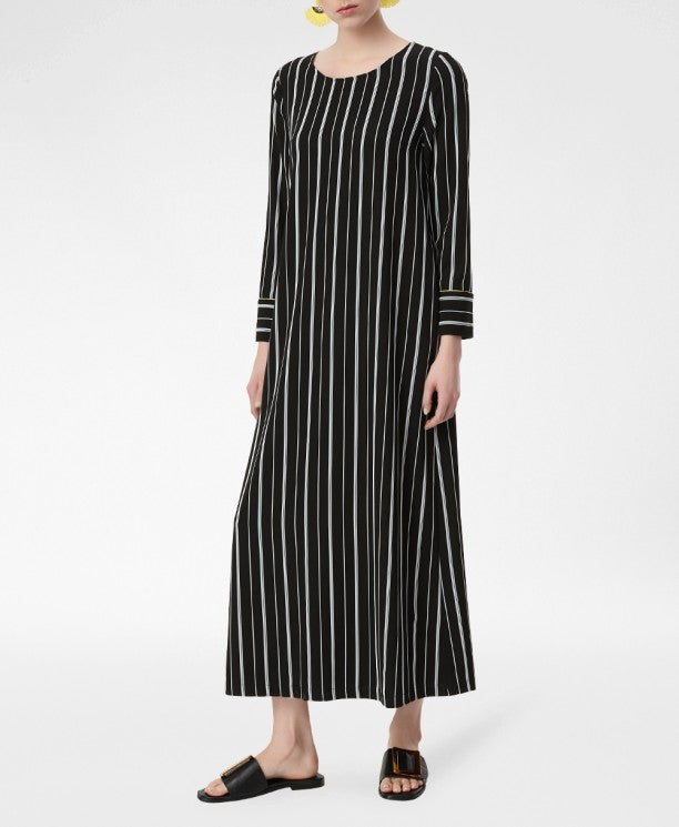 Black and White Mixed Stripes Long Dress