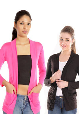 Solid Pink Black Front Pocket Shrugs Value Pack