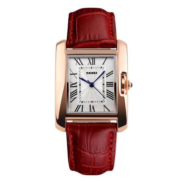 SKMEI 1085 Fashion Women Quartz Watch Elegant Rectangle Dail Leather Strap Wristwatch