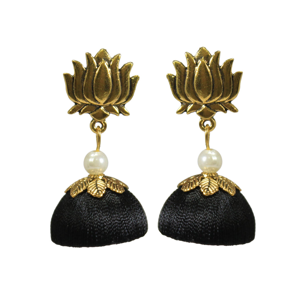 Silk Thread Black Jhumka With Silver Plated Stud Earring