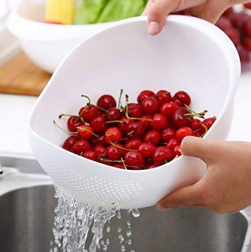 RSTC Plastic Rice Bowl Strainer, Washing Bowl for Fruits, Vegetables, Noodles, Pulses, Cereal, Rice (Color May Vary) Pack of 3 PC