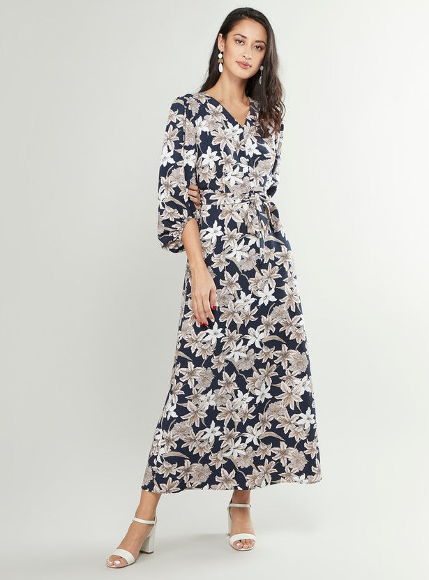 Floral Printed Maxi Dress with V-Neck and Bishop Sleeves