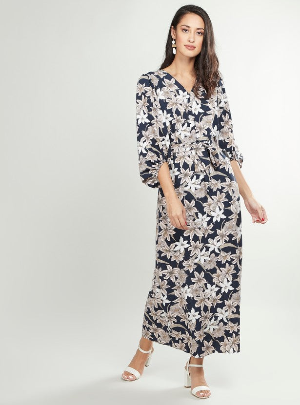 Floral Printed Maxi Dress with V-Neck and Bishop Sleeves-BLUE