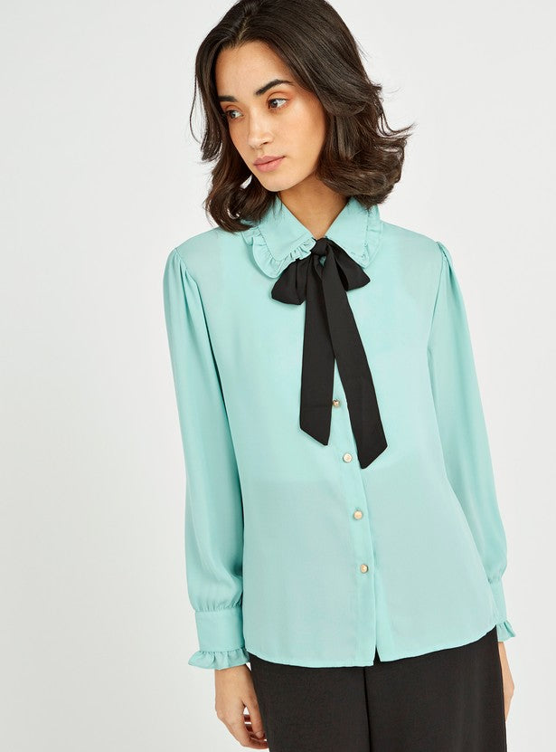 Solid Button Front Collared Top with Long Sleeves Tie Up