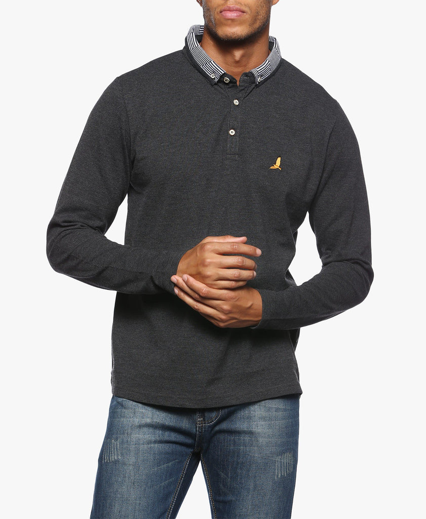 Charcoal Patterned Collar Polo Shirt