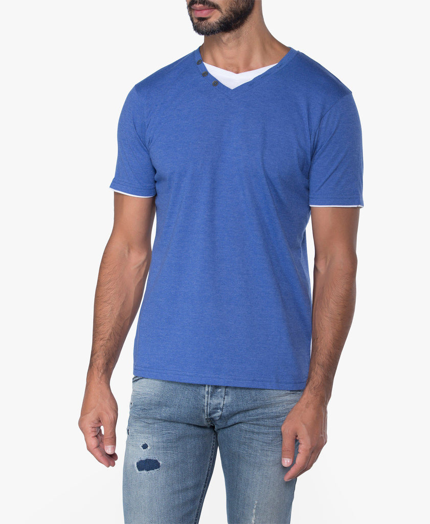 Double V-Neck Button Tee