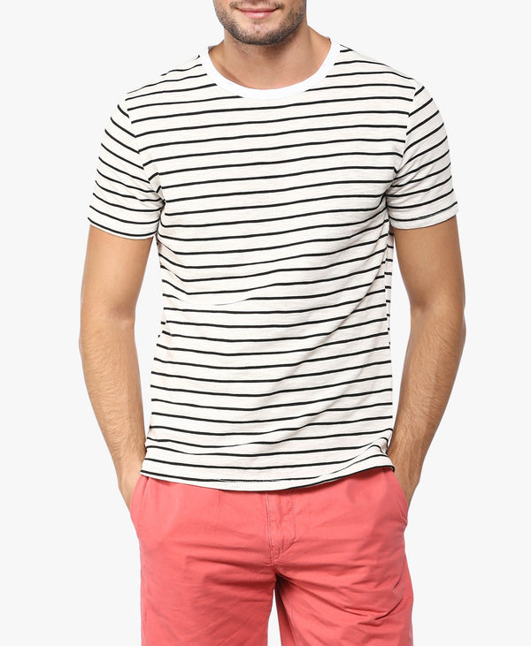 White Striped Tee