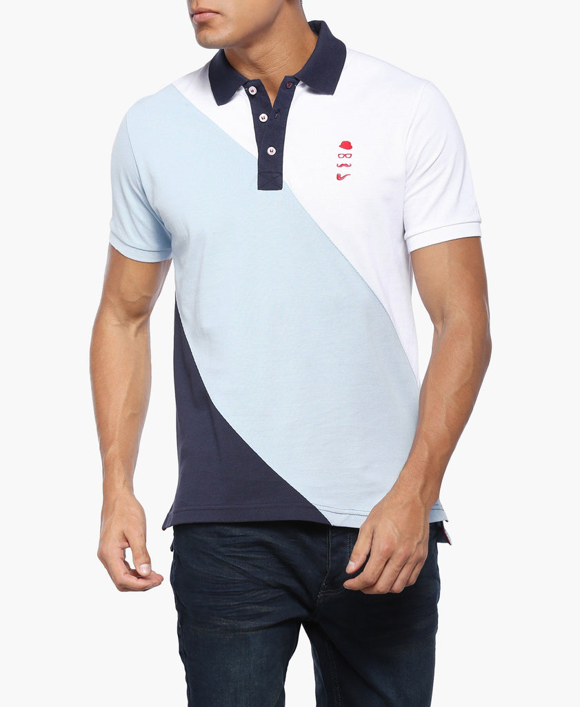 Blue And White Colour Block Polo T-Shirt