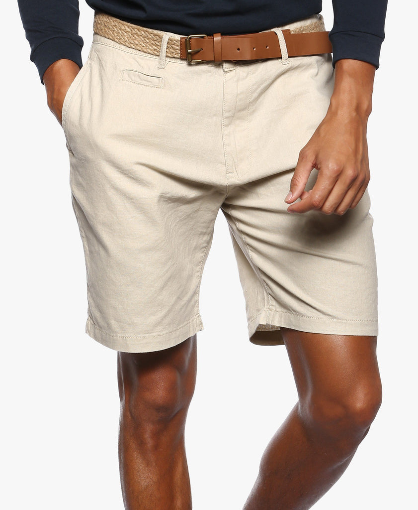 Beige Belted Chino Shorts