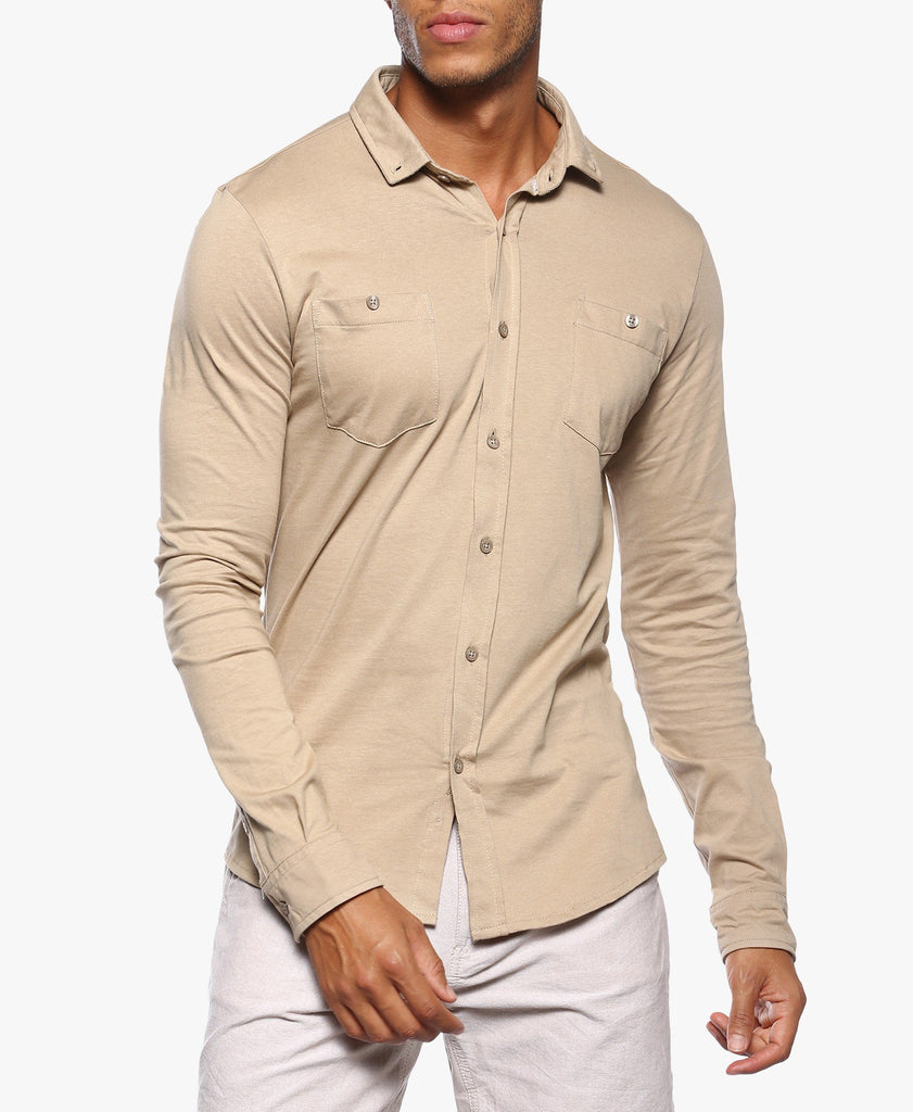 Beige Full Sleeve Jersey Shirt