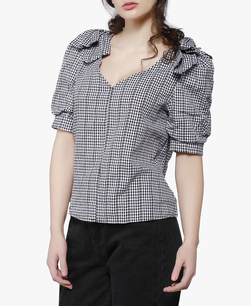Black And White Bow Shoulder Gingham Blouse