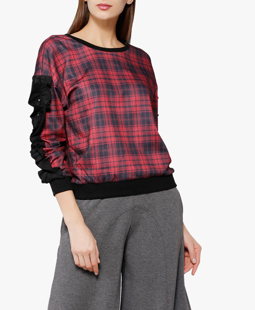 Red And Black Gothletic 1 Check Sweatshirt