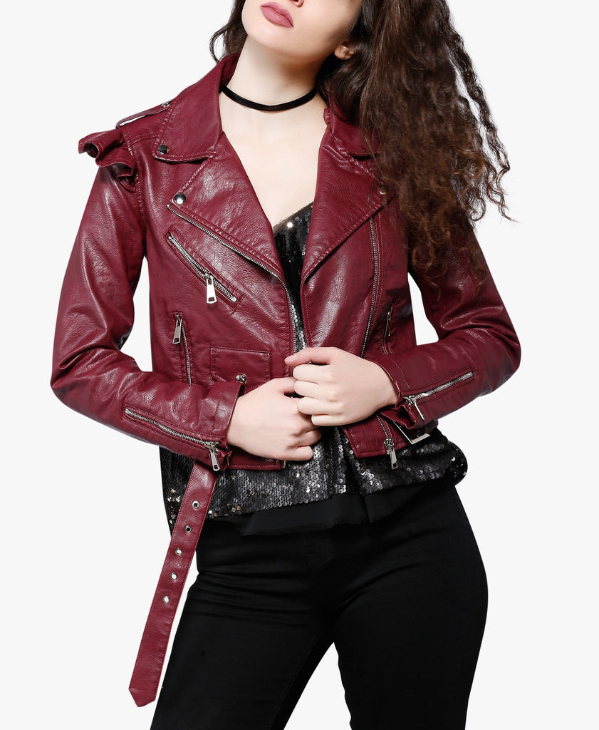 Burgundy Frill Shoulder Biker Jacket