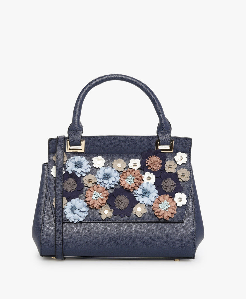 Navy Daisy Embellished Top Handle Bag