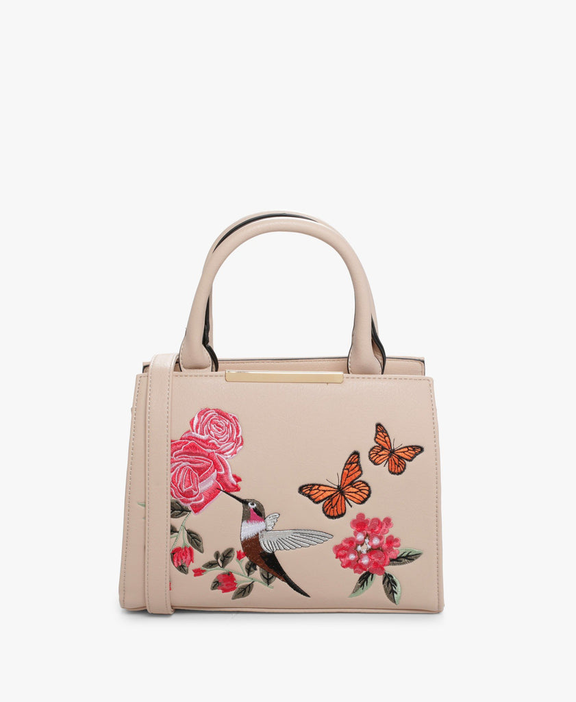 Beige Bordentown Embroidered Handbag