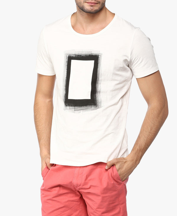 White Square Print T-Shirt