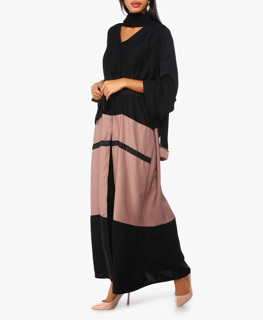 Black And Pink Two-Toned Abaya